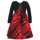 Bonnie Jean Little Girls Red Black Plaid Velvet Bolero Christmas Dress 4-6X