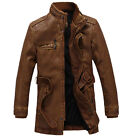 Men's DESIGNER Stand Collar FAUX Leather Jacket Trench Coats Outwear Parkas Tops