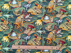 2 YARDS for £12 : FROGS & TOADS 100% cotton fabric   (182x105cm)