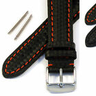 Mens Genuine Leather Watch Strap/Band - Water Resistant Carbon Fibre Effect