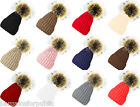 New Designer Ladies Men Chunky Cable Knit Fur Pom Pom Bobble Hat Beanie Cap Size