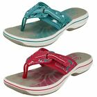 Ladies Clarks Brinkley Jazz Fuchsia Or Teal Toe-Post Mule Sandals