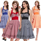 Womens Halter Vintage Style 1950s Retro Rock N Roll Party Swing Dress