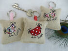 Handmade Lavender Keyring, Choice of colour & Personalisation, Pink Red Hen Bird