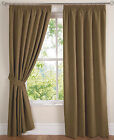"Latte Brown New Faux Suede 3"" Pencil Pleat PAIR Curtains Available In 84"" Drop"