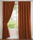 "Orange Faux Suede 3"" Tape Top PAIR Of Luxury Soft Touch Curtains In 10 Sizes"
