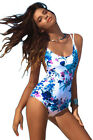 41710-Sexy One Piece Floral Padded Back Lace Up Swimming Costume Monokini New