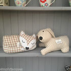 Country Home Striped Dog or Gingham Fabric Sleeping Fox Weighted Door Stop