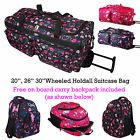 High Quality Womens Wheeled Suitcase Holdall Hand Luggage Bag *Free Backpack*