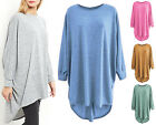 New Ladies Long Loose Fit Batwing Top Jumper Womens Knitted Oversized Hi Low Hem