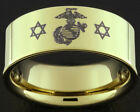 9MM GOLD TUNGSTEN USMC MARINES MILITARY RING