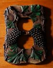 PINE CONE TREE SINGLE OUTLET PLATE COVER SWITCHPLATE LODGE LOG CABIN DECOR - NEW