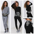 New Womens Ladies Grey Black Contrast Camouflage Loungewear Set Tracksuit Pants