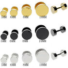 316L Stainless Steel Fake Cheater Screw Mens Ear Plug Earring Stud Stretcher US