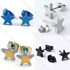 Pair Stainless Steel Star Ear Stud Men's Women Earring Charm Punk Cool Gift