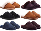 MENS WOMENS REDFOOT SUEDE FAUX FUR CASUAL COMFY SLIP ON SLIPPERS SIZE 3 - 12 NEW