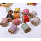 2M 6cm Jute Burlap Hessian Ribbon Lace Trims Rustic Wedding Party Decoration New