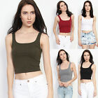 TheMogan Essential Squared Scoop Neck Crop Tank Top Fashion Cropped Tee