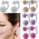Chic New Fashion Jewelry Womens Silver Plated Double Beads Crystal Stud Earrings