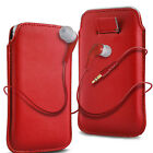 Red PU Leather Pull Tab Flip Case Cover & Earbud Earphone for Mobile Phones