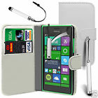 White PU Leather Wallet Flip Case Cover, Screen Film & 3 Pens For Various Phones