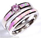Pink Topaz & Pink Fire Opal 925 Sterling Silver Solitaire & Band Stack Ring Set