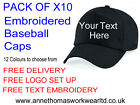 PACK OF x10 Baseball Caps, Embroidered With Your Company Name, 12 Colours, FREE