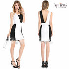 Women Summer Party Club Color Block Cut Out Black White Mini Sexy Bodycon Dress