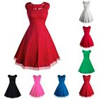Women's Vintage Retro 1950s 60s Rockabilly Swing A Line Hepburn Prom Ball Dress