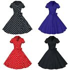 Women's Vintage Retro 1950s 60s Rockabilly V-Neck Polka Dot Hepburn Prom Dress