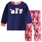 Pyjamas Girls Cotton Flannel (Sz 0-2) Pjs Set Navy Blue Pink Cats Sz 0 1 2