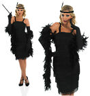 Ladies Black Flapper Fancy Dress Costume 20S Charleston Gatsby Girl Outfit