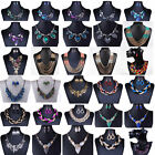Hot Charm Jewelry Pendant Chain Crystal Choker Chunky Statement bib Necklace Set