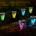 SET OF 6 BUTTERFLY SILHOUETTE SOLAR OUTDOOR GARDEN BORDER PATH STAKE LED LIGHTS