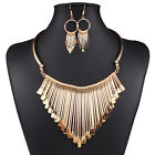 Charm Women Jewelry Tassel Chunky Statement Bib Pendant Necklace Earrings Set