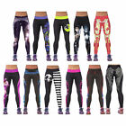 Womens YOGA Workout Gym Digital Printing Sports Pants Fitness Stretch Trouser SL