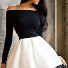 Sexy Women Fashion One Shoulder Skirt Dress Lace Skater Ladies Party Mini Dress
