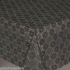 LACE EFFECT PEWTER GREY DAISY FLORAL THICK PVC VINYL OIL TABLE CLOTH PROTECTOR