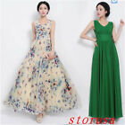 Women Summer Sleeveless Butterfly Floral Print Chiffon Maxi Long Beach Dress New