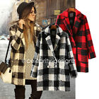 wc32 CFLB Women's Double Breasted Plaid Check Winter Wool Pea Long Coat Jacket
