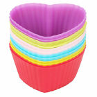 12Pcs Multi-color Silicone Cake Muffin Cupcake Mold Round Heart Baking Mould