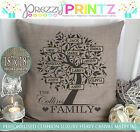 Personalised Family Tree Mothers Fathers Day Home Cushion Canvas Christmas Gift