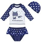 3Pcs Children Baby Girl Rash Guard Swimsuit Kids Child Swimwear with Hat Clothes