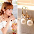 Lady Fashion Simple Ear Stud Bow Crystal Dangle Pearl Jewelry Earrings