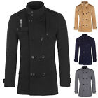 PJ 2016 NEW Fashion Men's Double Breasted Wool Blends Slim Fit Jacket Top Coat