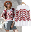 pr2 Celebrity Fashion Lookbook Light Weight Red Striped 3/4 Sleeve T-shirt Top