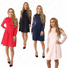 Womens Ladies Long Sleeve High Neck Lace Floral Pleated Skater Party Dress 8-16