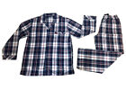 Pyjamas Mens Long Sleeve 2 pc PJs Set (Sz S-4XL) Navy Red Cheques