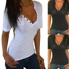 New Women Ladies Sexy Casual Cotton V-neck Tops Shirt Long Sleeve Blouse T-shirt