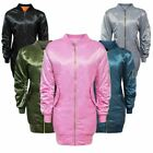 WOMENS LADIES MA1 SATIN ARMY FLIGHT LONG VINTAGE MILITARY RETRO BOMBER JACKET